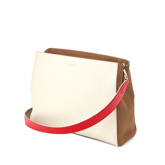 Large Ella Hobo in Ivory Pebble with Dahlia & Camel Strap from Aspinal of London