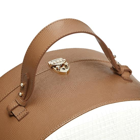 Large Hat Box in Deep Shine Ivory Small Croc & Camel Lizard from Aspinal of London