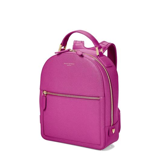 Small Mount Street Backpack in Orchid Saffiano from Aspinal of London