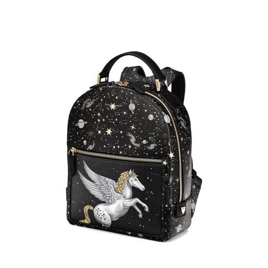 Pegasus Backpack in Black Pegasus & Constellation Print from Aspinal of London
