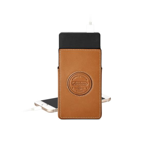 Aerodrome Tech Charger Pack & Case in Smooth Tan from Aspinal of London