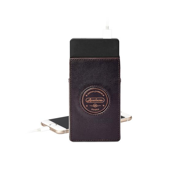 Aerodrome Tech Charger Pack & Case in Dark Brown Pebble from Aspinal of London