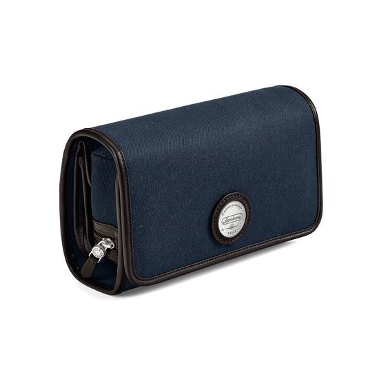 Aerodrome Travel Pack in Navy Canvas & Dark Brown Pebble from Aspinal of London