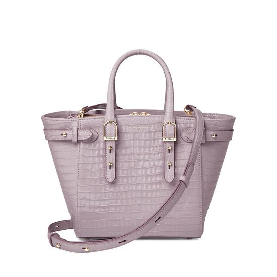 Mini Marylebone Tote in Deep Shine Lilac Small Croc from Aspinal of London