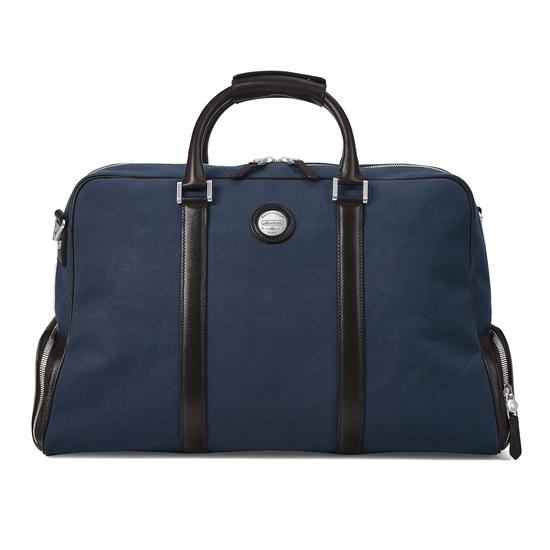 Aerodrome Long Weekender in Navy Canvas & Dark Brown Pebble from Aspinal of London