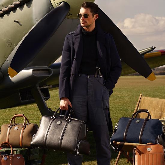Aerodrome Long Weekender in Dark Brown Pebble from Aspinal of London