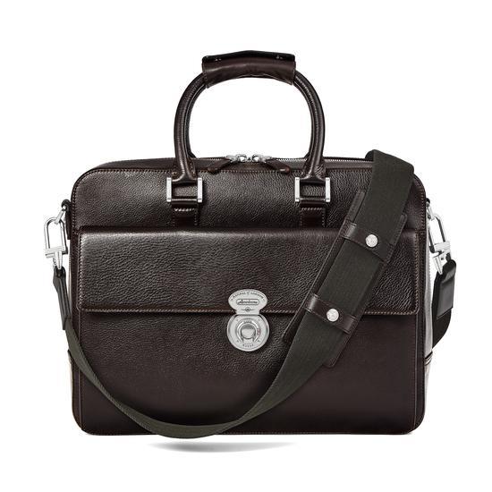 Aerodrome Business Bag in Dark Brown Pebble from Aspinal of London