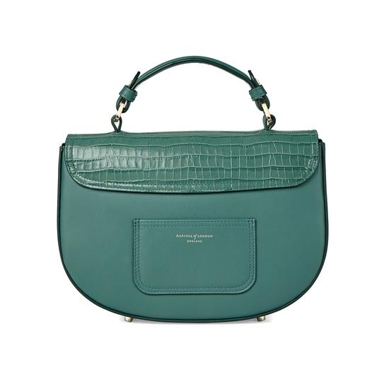Letterbox Saddle Bag in Deep Shine Sage Small Croc & Smooth Sage from Aspinal of London