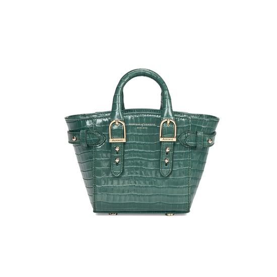 Micro Marylebone Tote in Deep Shine Sage Small Croc from Aspinal of London