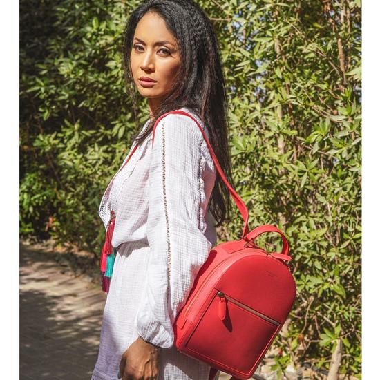 Small Mount Street Backpack in Dahlia Saffiano from Aspinal of London