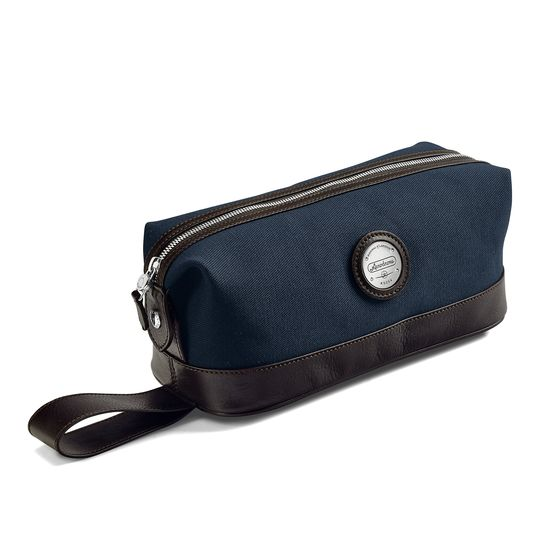 Aerodrome Zip Washbag in Navy Canvas & Dark Brown Pebble from Aspinal of London