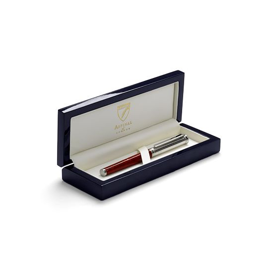 Sterling Silver & Leather Rollerball Pen in Jet Black Lizard from Aspinal of London