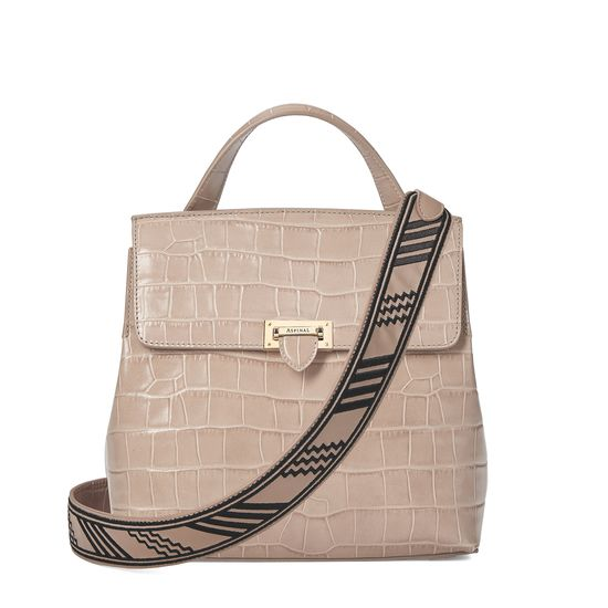 Soho Backpack in Deep Shine Soft Taupe Croc with Deco Embroidered Strap from Aspinal of London