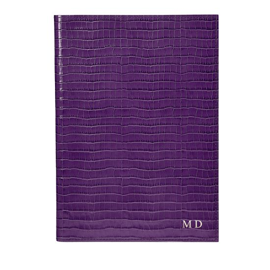 A4 Refillable Leather Journal in Deep Shine Amethyst Small Croc from Aspinal of London