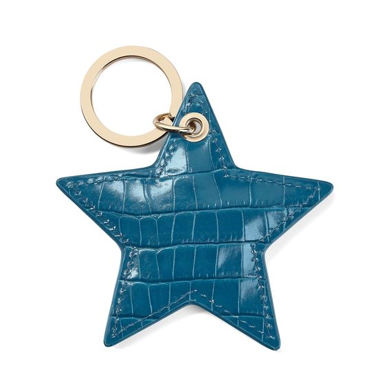 Star Keyring in Deep Shine Topaz Small Croc from Aspinal of London