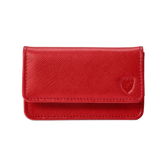 Business & Credit Card Case in Scarlet Saffiano from Aspinal of London