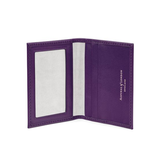 ID & Travel Card Case in Smooth Amethyst from Aspinal of London