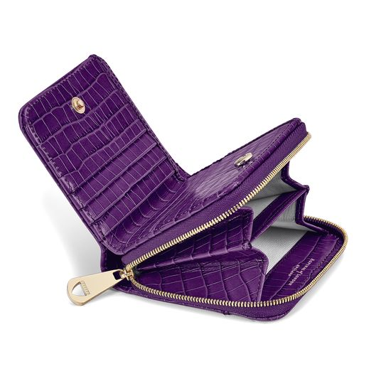 Mini Continental Zipped Coin Purse in Deep Shine Amethyst Small Croc from Aspinal of London