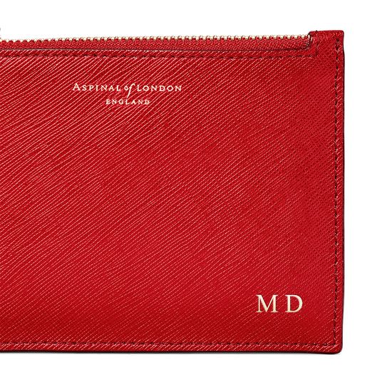 Small Essential Flat Pouch in Scarlet Saffiano from Aspinal of London
