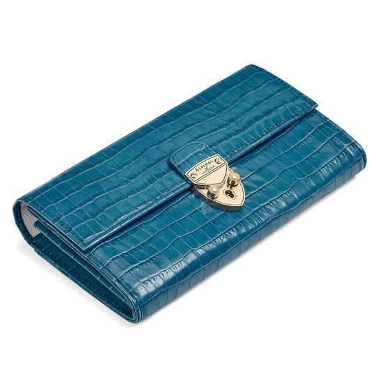 Mayfair Purse in Deep Shine Topaz Small Croc from Aspinal of London