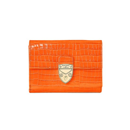 Small Mayfair Purse in Deep Shine Amber Small Croc from Aspinal of London
