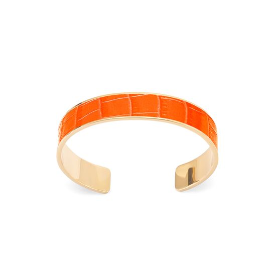 Cleopatra Skinny Cuff Bracelet in Deep Shine Amber Small Croc from Aspinal of London
