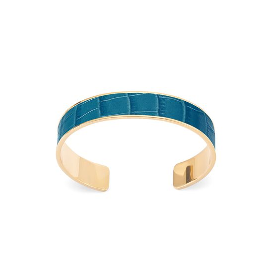 Cleopatra Skinny Cuff Bracelet in Deep Shine Topaz Small Croc from Aspinal of London