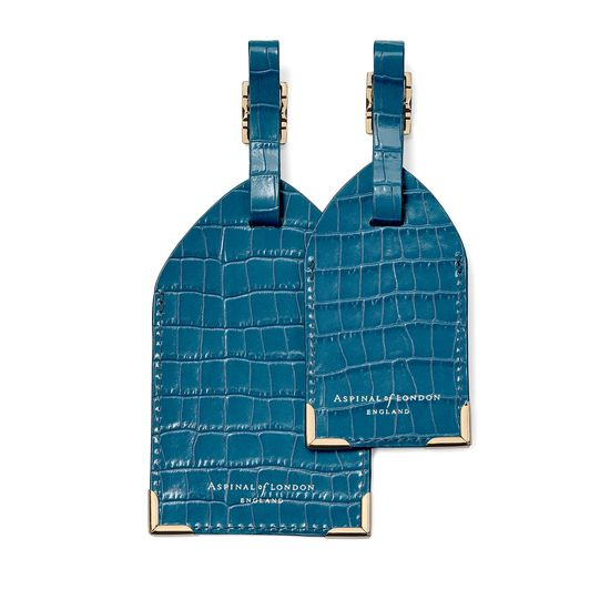 Set of 2 Luggage Tags in Deep Shine Topaz Small Croc from Aspinal of London