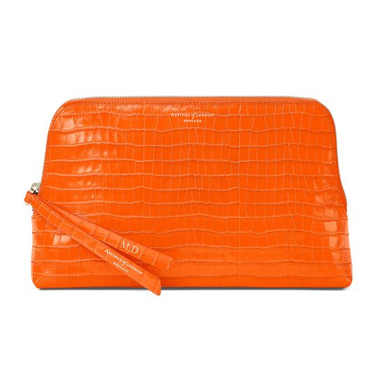Large Essential Cosmetic Case in Deep Shine Amber Small Croc from Aspinal of London