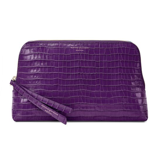 Large Essential Cosmetic Case in Deep Shine Amethyst Small Croc from Aspinal of London