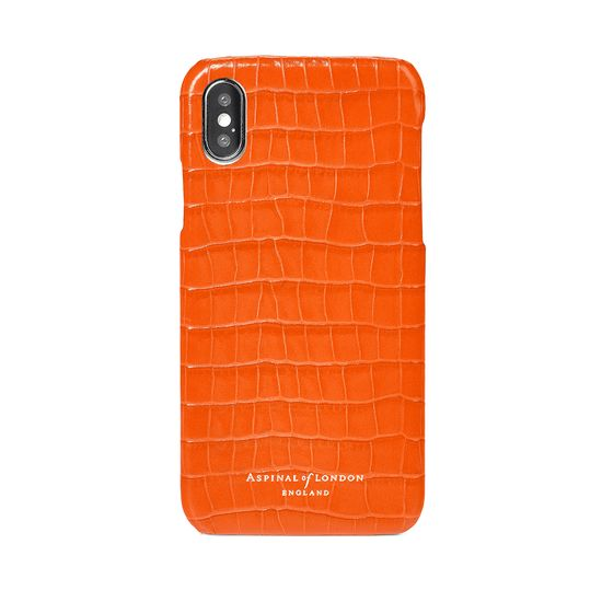 iPhone X Leather Cover in Deep Shine Amber Small Croc from Aspinal of London
