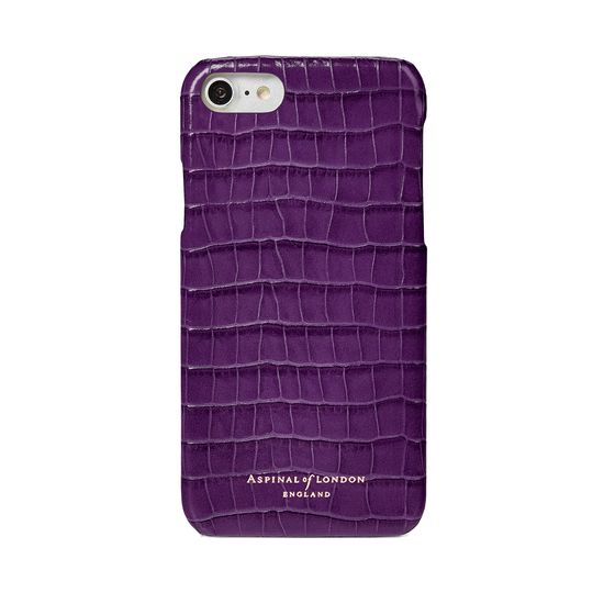 iPhone 7/8 Leather Cover in Deep Shine Amethyst Small Croc from Aspinal of London
