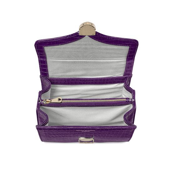 Midi Mayfair Bag in Deep Shine Amethyst Small Croc from Aspinal of London