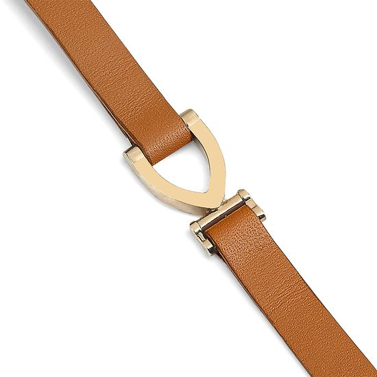 Stirrup Bracelet in Smooth Tan from Aspinal of London