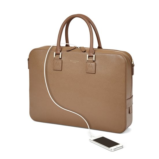 Small Mount Street Bag in Camel Saffiano from Aspinal of London