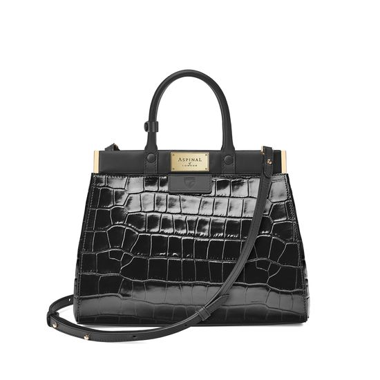 Small Florence Snap Bag in Deep Shine Black Croc & Smooth Black from Aspinal of London