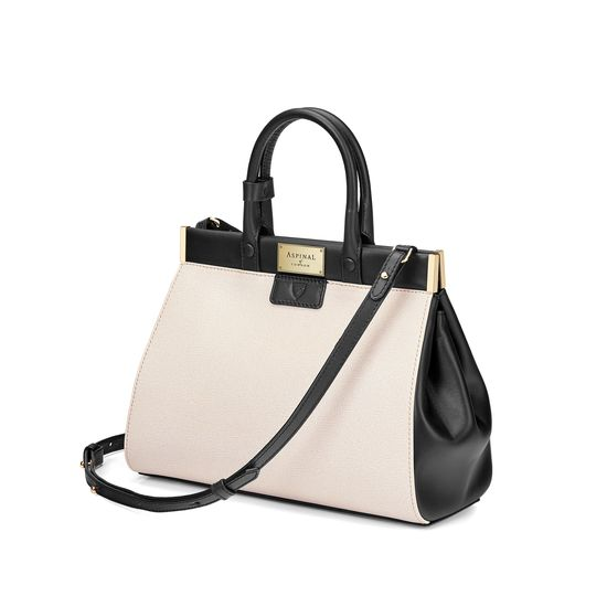 Small Florence Snap Bag in Monochrome Saffiano from Aspinal of London