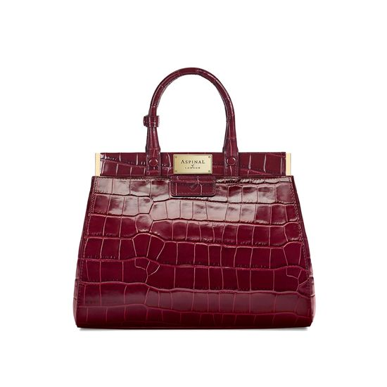 Small Florence Snap Bag in Deep Shine Bordeaux Croc from Aspinal of London