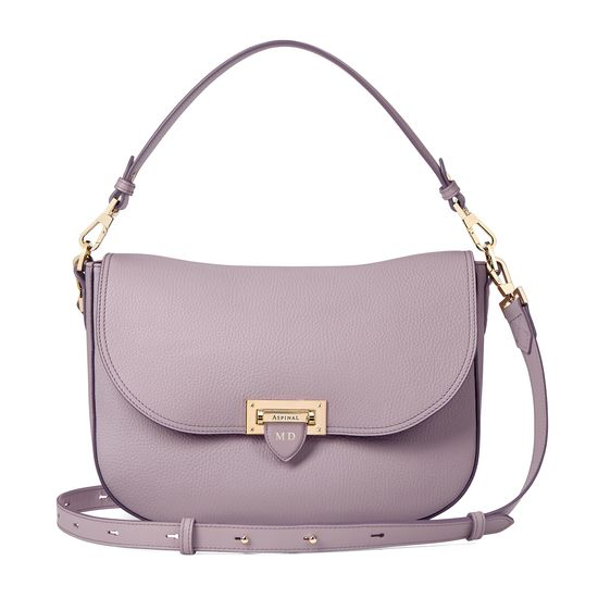 Slouchy Saddle Bag in Lilac Pebble from Aspinal of London