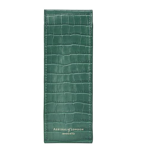 Small Pen Case in Deep Shine Sage Small Croc from Aspinal of London
