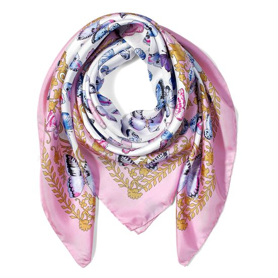 Aspinal x Caudwell Children (Butterflies Silk Scarf in Pink) from Aspinal of London