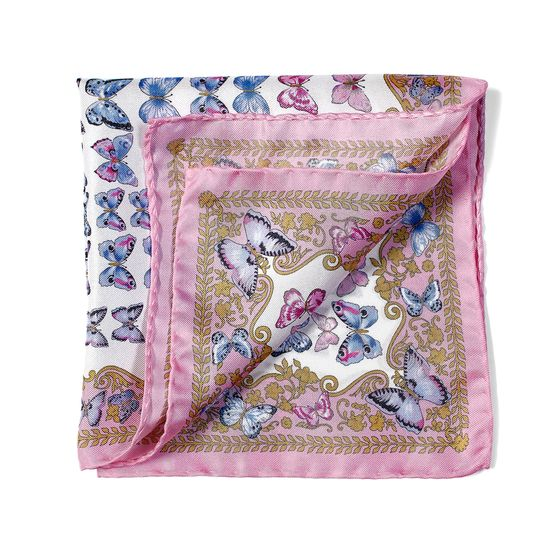 Aspinal x Caudwell Children (Butterflies Silk Pocket Square in Pink) from Aspinal of London