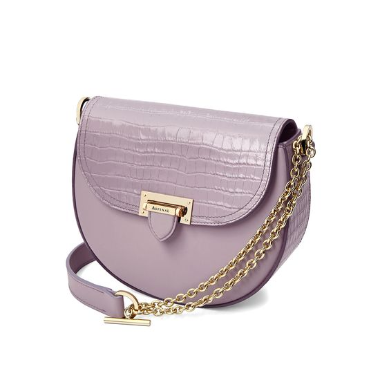 Portobello Bag in Deep Shine Lilac Small Croc & Smooth Lilac from Aspinal of London