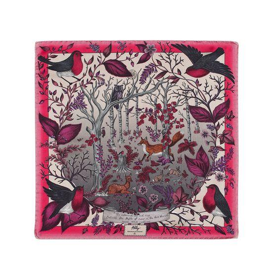 Robin Silk Twill Handkerchief in Magenta from Aspinal of London
