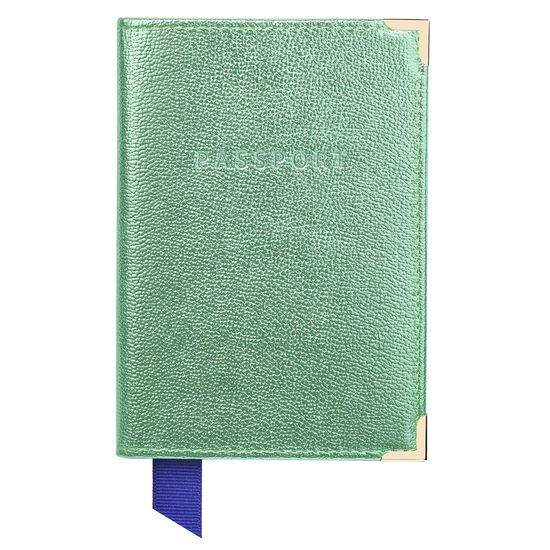 Passport Cover in Peppermint Metallic from Aspinal of London