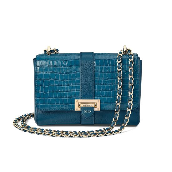 Small Lottie Bag in Deep Shine Topaz Small Croc from Aspinal of London