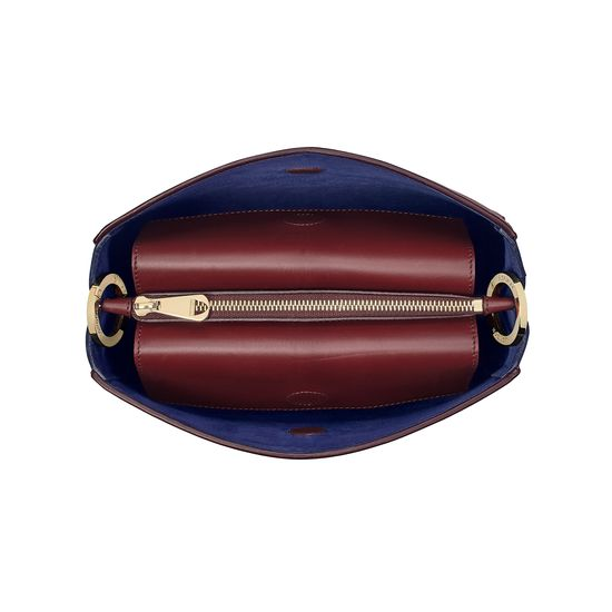 Small Ella Hobo in Burgundy Pebble with Bordeaux & Navy Strap from Aspinal of London