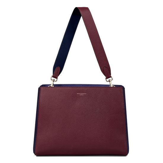 Large Ella Hobo in Burgundy Pebble with Burgundy & Navy Strap from Aspinal of London