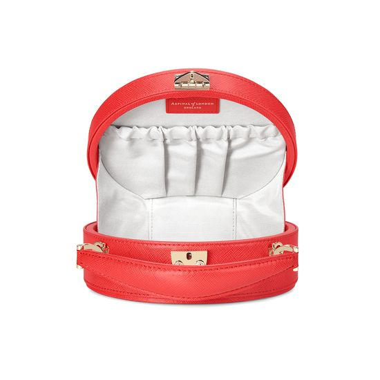 Mini Hat Box Bag in Dahlia Saffiano from Aspinal of London
