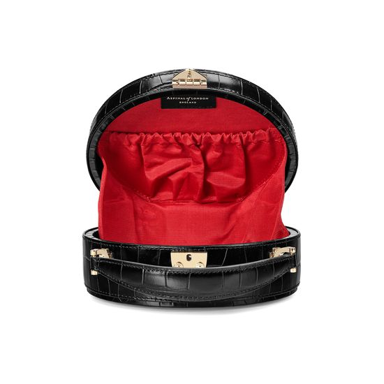 Mini Hat Box Bag in Deep Shine Black Croc from Aspinal of London
